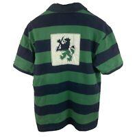 Tommy Hilfiger Mens sz L Green Blue Short Sleeve Rugby Shirt Vtg Lion Crest
