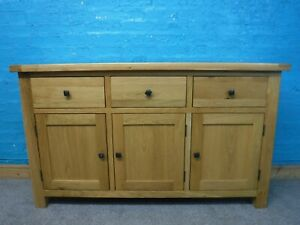 DOVETAILED WIDE SOLID OAK 3DRAWER SIDEBOARD H86 W148 D40cm- VISIT OUR WAREHOUSE