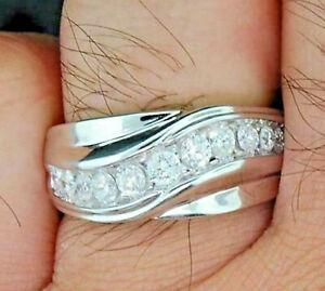 Men's Wedding Band 1.55Ct Round Cut Diamond Engagement Ring 14K White Gold