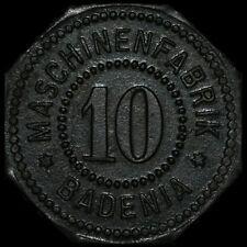 NOTGELD: 10 Pfennig. MASCHINENFABRIK BADENIA WEINHEIM / BADEN.