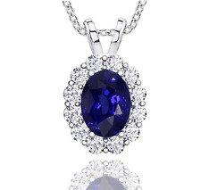 5.57 ct Ladies Sapphire and Diamond Pendant with 16 Inch Chain