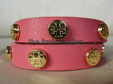 CLEARANCE SALE! AUTH. TORY BURCH SAFFIANO DOUBLE WRAP BRACELET FRENCH ROSE/PINK