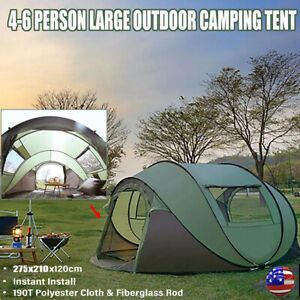 4-6 Person Automatic Pop-Up Tent Waterproof Outdoor Large Camping Hiking Tent US