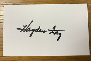 Hayden Fry Signed Index Card, Iowa Hawkeye Football Coach College HOF 🏈🔥