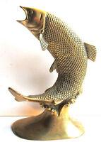 Statue de poisson, Sculpture vintage bronze doré: Saumon sautant sur la vague