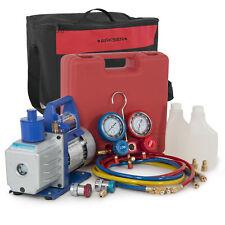 Vacuum Pump (1/2hp) A/C R134a Manifold Gauge Refrigerant w/ Carrying Tote Kit