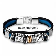 Punk Black Blue Leather Zen Bracelet for Teens Boys Girls Mens Ladies Gifts New