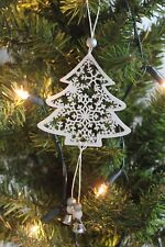 White Wooden Snowflake Christmas Tree and Beads & Bell's Hanging Decoration