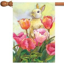 Toland Bunny Tulip 28 x 40 Cute Spring Summer Rabbit Flower House Flag