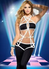Black & White Strappy Caged Teddy Bodysuit Pole Dancer Lingerie Size UK M