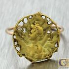 1910s Antique Art Nouveau French 18k Yellow Rose Gold Queen Maple Leaf Ring