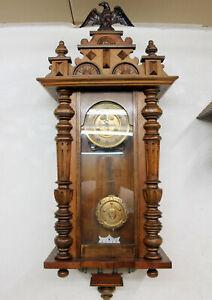 Antik Wanduhr Regulator Schöne Uhr Pendeluhr um 19. Jahrhundert