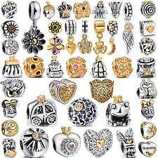Golden Bead Popular Women Charms For 2018 Sterling 925 Silver Bracelets Bangle