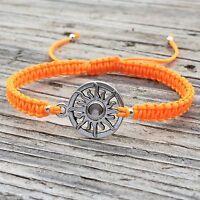 Sun Bracelet , Adjustable Cord Macrame Friendship Bracelet with Sun Charm