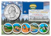 2014 America The Beautiful COLORIZED Quarters U.S. Parks 5-Coin Set w/Capsules
