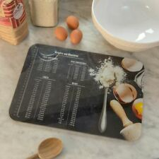 Plain Smooth Glass Chopping Board Large Weights + Measures Baking 40x50cm Home