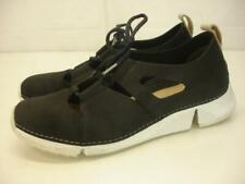 Women's sz 9 M Clarks Trigenic Flex Black Leather Comfort Shoes Sneakers Lace-Up