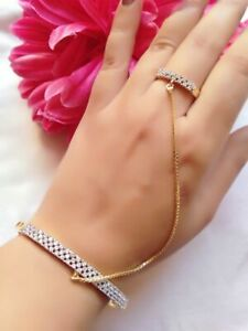 Glossy American Diamond Ring Bracelet Connected With Gold Plated Chain For Women