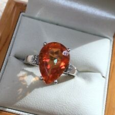Stunning Gem Set Engagement/Eternity/Dress Sterling Silver Ring Size Q  3.3g