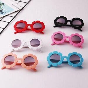 Kids Sunglasses Girls Children Baby Flower Summer Round Pink White Black UV400