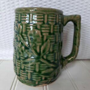 Brush MCCoy Pottery Coffee Mug Morning Glory Basketweave Pattern Antique Green