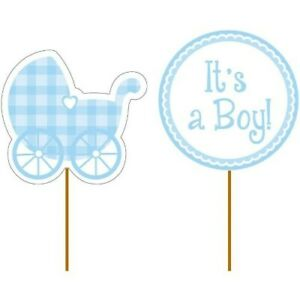 """Baby Shower It's a Boy Gingham Picks 12 Per Pack 3.5"""" x 2"""" Paper Cupcake Toppers"""