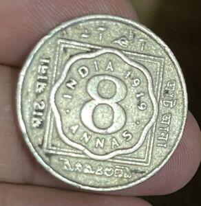 British India 1919 8 Anna Circulated -Scarce- Please See Pics