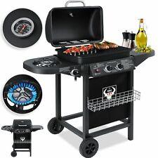 RETOURE Gasgrill Grillwagen Grillstation 2 Brenner 1 Seitenbrenner  BBQ Grill
