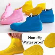 1Pair Blue S Waterproof Shoe Cover Reusable Anti-slip Rain Boot Bike Overshoe