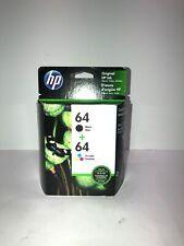 HP 64 Genuine Black & Color ink Combo Ink Cartridges New