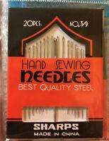 Hand Sewing Needles Sharps 20 Assorted Sizes 3 - 9 & Wool Needle Quality Steel