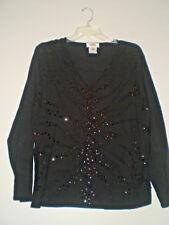 Talbots Womens XL Black Beaded Knit Sweater Silky Soft EUC