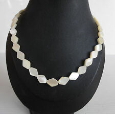 Vintage Diamond Shaped  Mother of Pearl Bead Necklace, 43cm Long.