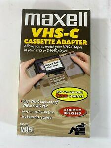 Maxell VHS-C Manual Cassette Adapter CIB Complete