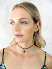 NEW! Brown SUEDE TASSEL Thin Simple BOHO 90s Retro Fashion Necklace Party CHOKER
