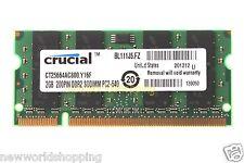 Crucial 2GB PC2-6400 DDR2 800Mhz 200pin SODIMM Laptop Memory RAM Low Density CL6