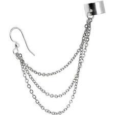 ~ UK Seller ~ A  Silver Tone Multiple Chain Ear Cuff  Clip Stud Wrap Earring