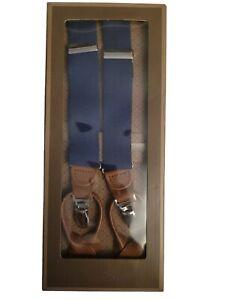 NWT TRAFALGAR Navy Blue Linen Convertible Suspenders Braces w/Leather Fittings