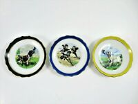 Vintage Small Porcelain Plates Hunting Dogs Pheasants Theme Set Of 3 Japan 3.75""