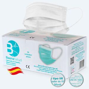 Mascarillas Quirúrgicas blancas homologadas desechables hechas en España 50 uds