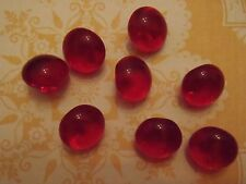 8 Vintage Red Glass Buttons sew craft scrapbook jewelry quilt knit doll