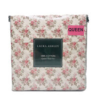 Laura Ashley 4 Piece Queen Sheet Set 100% Cotton Pink Green Shabby Chic Cottage