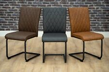 Bronx PU Leather Industrial Dining Chair Black Metal Cantilever Grey Brown Tan