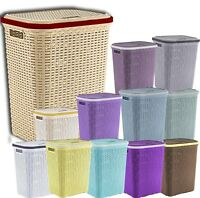 PLASTIC RATTAN LAUNDRY BASKET WASHING CLOTHES STORAGE HAMPER BASKETS BIN BINS