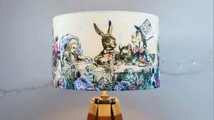 Alice in Wonderland Lampshade Drum Lamp Shade 30cm 40cm Mad Hatters Tea Party