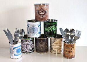 Pub Bar vintage retro tin can cutlery silverware pots bar straws holders caddy