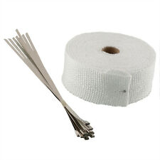 UNIVERSAL MANIFOLD EXHAUST HEAT WRAP TAPE WHITE 10M ROLL & STAINLESS TIES