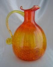 "Beautiful Vintage PILGRIM Orange Amberina Crackle Glass Jug Pitcher (8"" tall)"