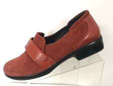 Naot Womens Loafers 38 7 Red Suede Leather Slip On Israel Hook Loop Strap