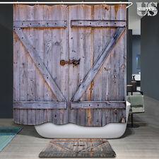 Polyester Wooden Barn Door Graphic Bath Bathroom Shower Curtain Antique Pattern